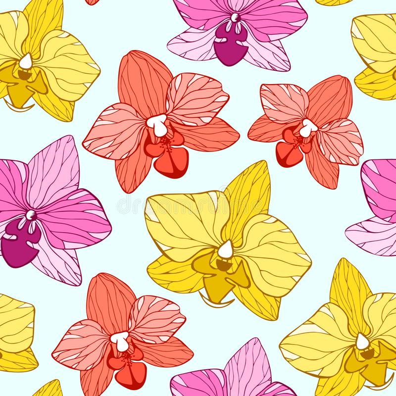 Orchid hand drawn flower vector seamless pattern stock illustration