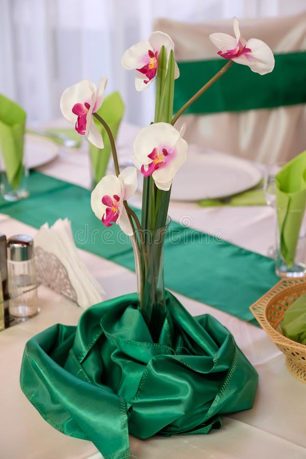 Orchid on table stock photo