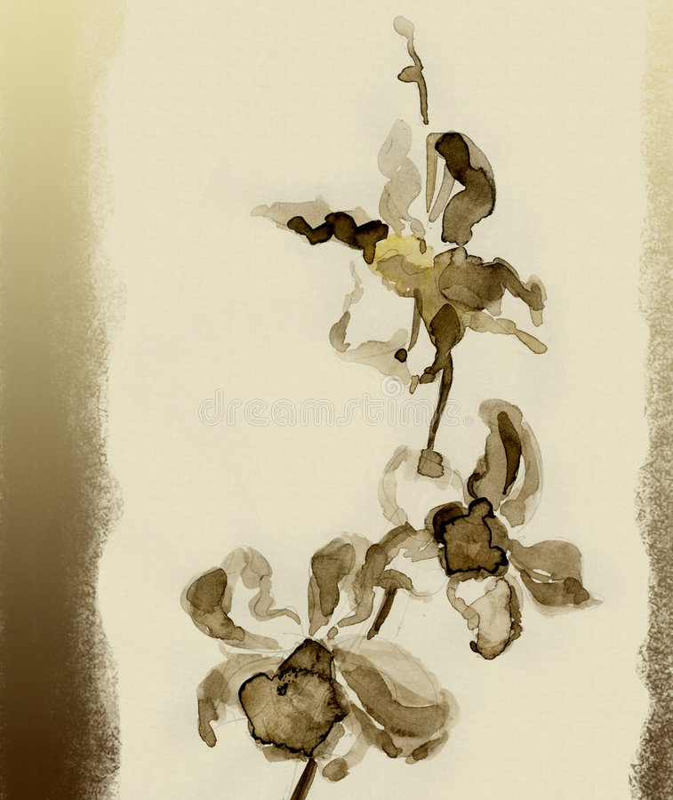 Orchid. Watercolor stock illustration