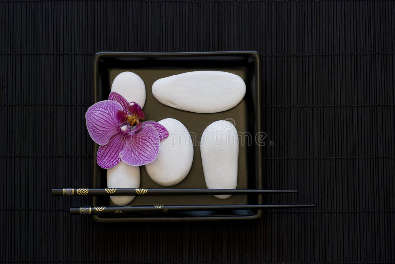 Download Orchid and white pebble stock image. Image of chopstick - 8353879