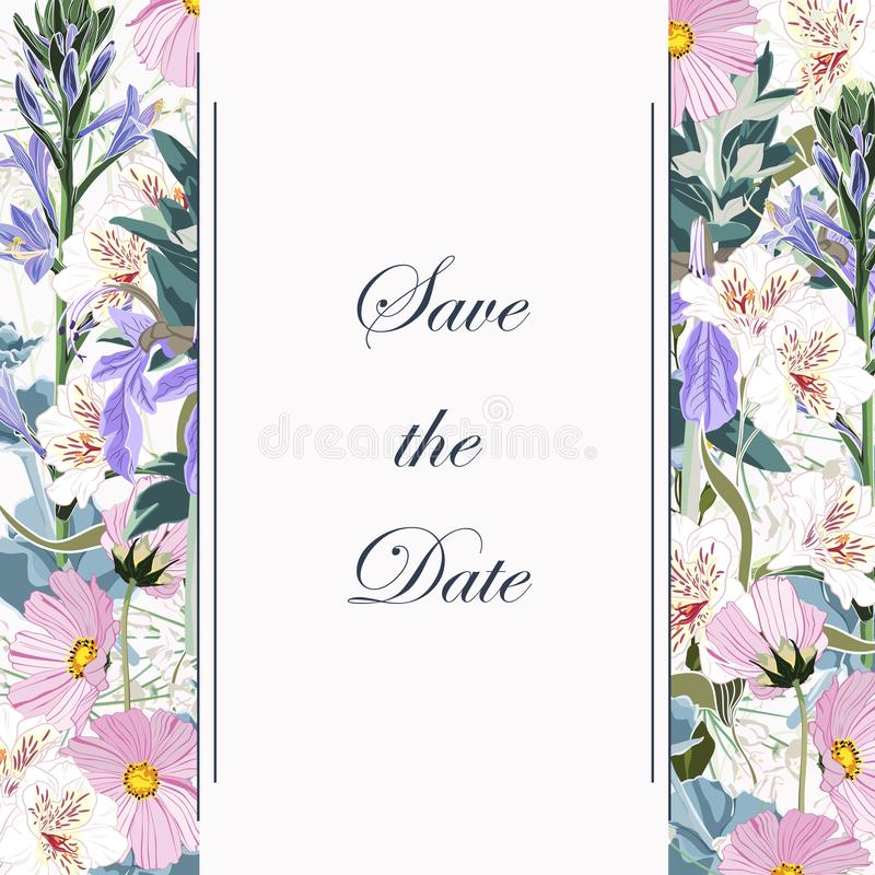 Botanical spring wedding invitation card template design, wild flowers and herbs composition frame on white background. Botanical spring wedding invitation card royalty free illustration