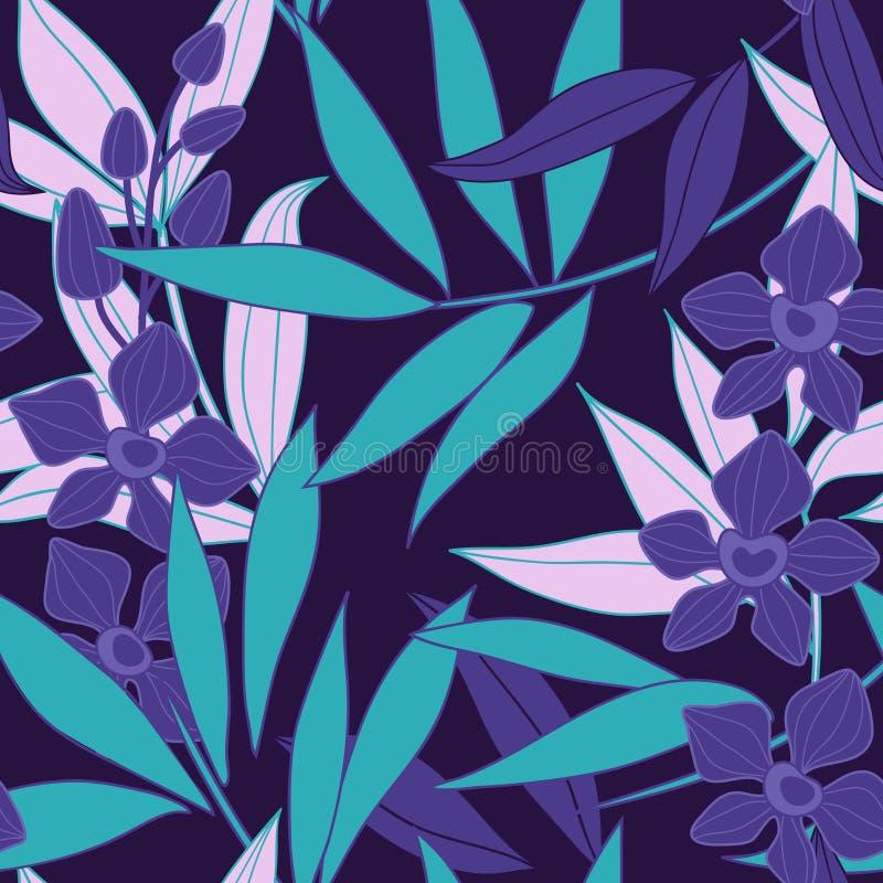 Orchidee - bloemen naadloos patroon stock illustratie