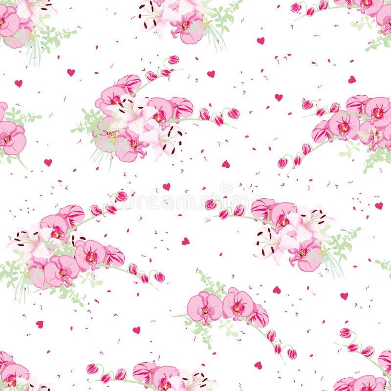 Orchidee en lelie horen de romantische boeketten op gestippelde achtergrond met stock illustratie