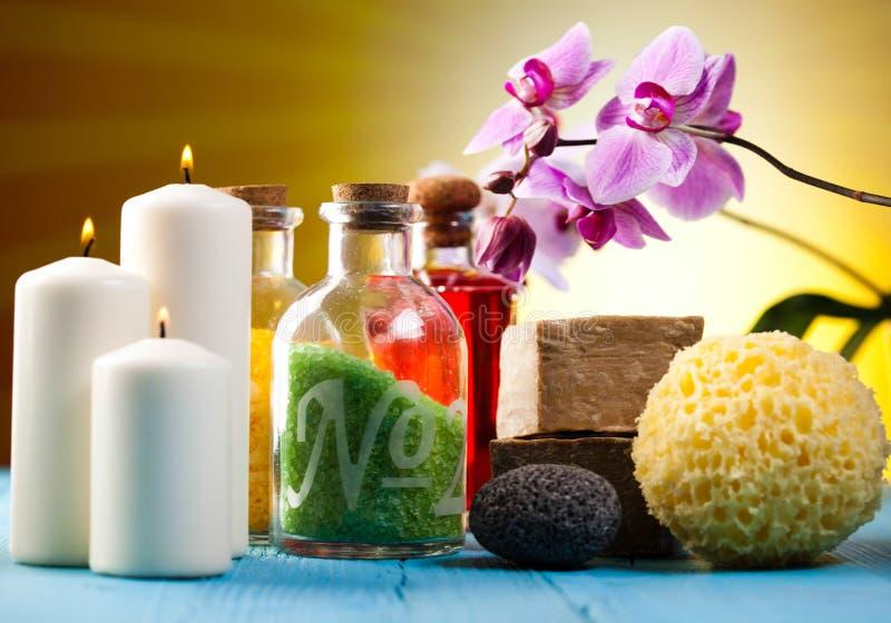Orchidee, prodotti biologici, concetto fresco ed organico della stazione termale, fotografia stock
