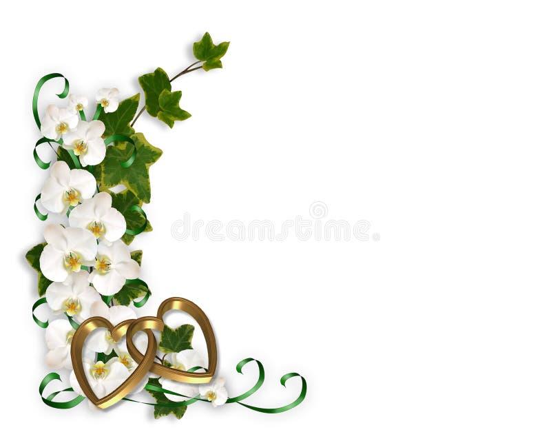 Orchideen und Efeu-Hochzeits-Einladung vektor abbildung
