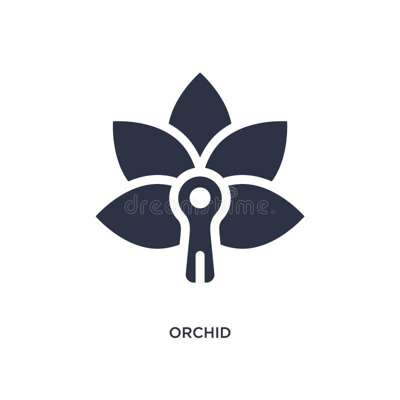 orchideepictogram op witte achtergrond Eenvoudige elementenillustratie van Aardconcept royalty-vrije illustratie
