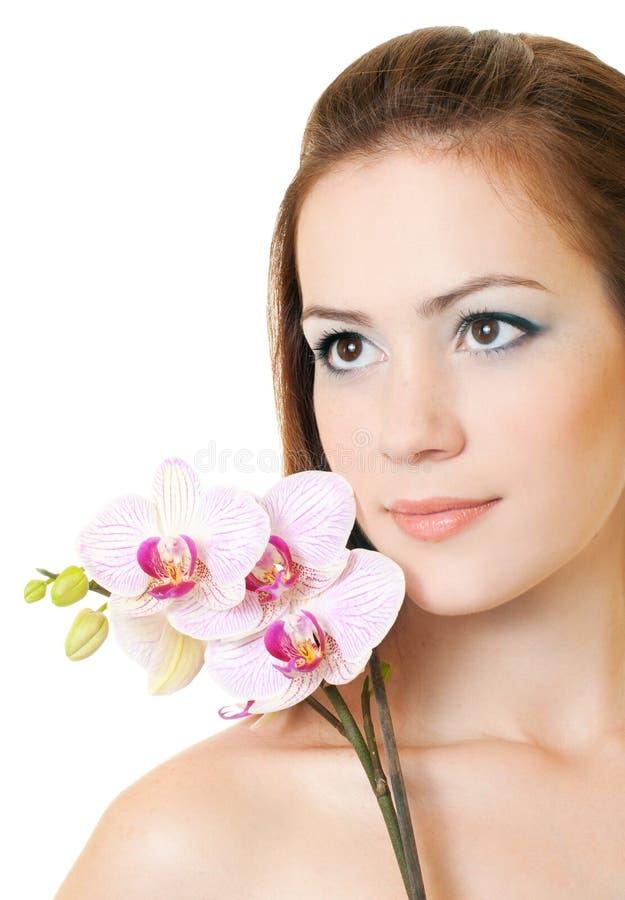 orchidkvinna royaltyfria foton