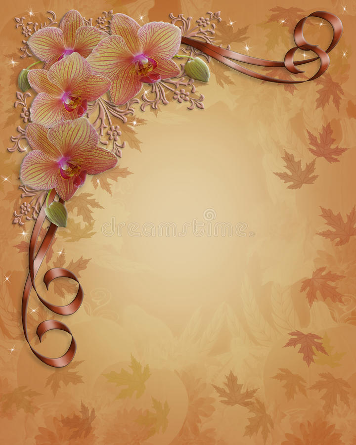 Orchids Floral wedding Border Fall colors. Image and illustration composition of Orchid flowers, fall colors background for wedding invitation border royalty free illustration