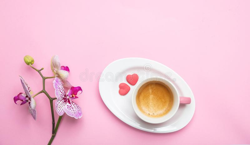 Orchids flowers purple white color and a cup of coffee on pink, copy space. Women, mothers day concept. Orchids flowers purple white color and a cup of coffee royalty free stock photos