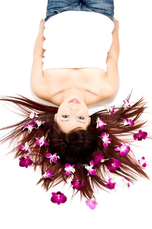 Orchids In Hair royalty free stock photos