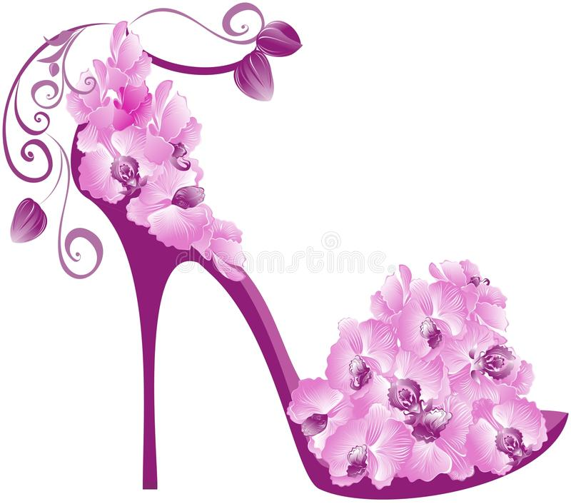 Orchids high heel. Vector stock illustration