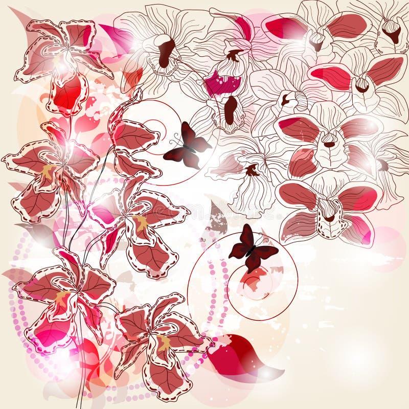 Orchidssammansättning royaltyfri illustrationer