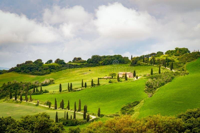 ` ORCIA, TUSCANY/ITALY DI VAL D - 21 MAGGIO: Azienda agricola nel ` Orcia Toscano di Val d fotografia stock libera da diritti