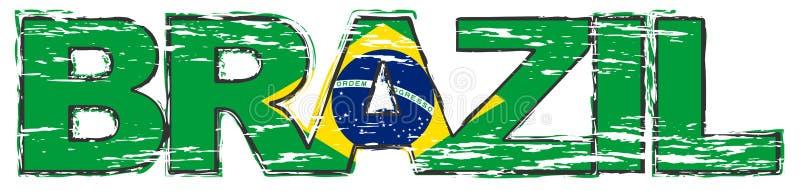 Ord BRASILIEN med den brasilianska flaggan under den, bekymrad grungeblick vektor illustrationer