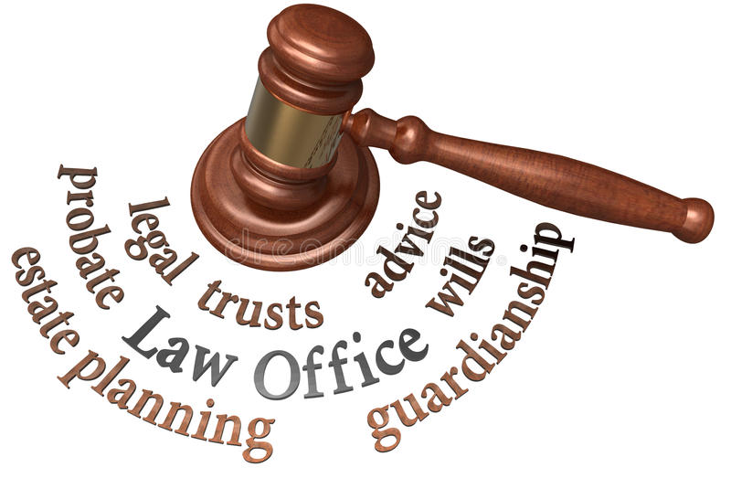 Ord för advokat för wills för auktionsklubbagodstestamentsbevakning stock illustrationer