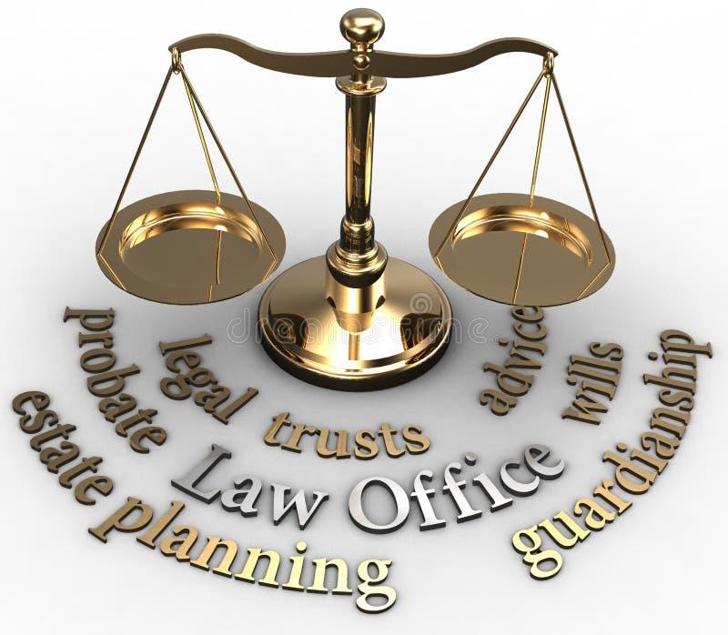 Ord för advokat för wills för skalagodstestamentsbevakning vektor illustrationer