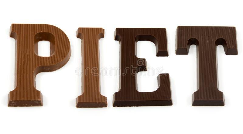 ord för chokladbokstavspiet arkivbilder