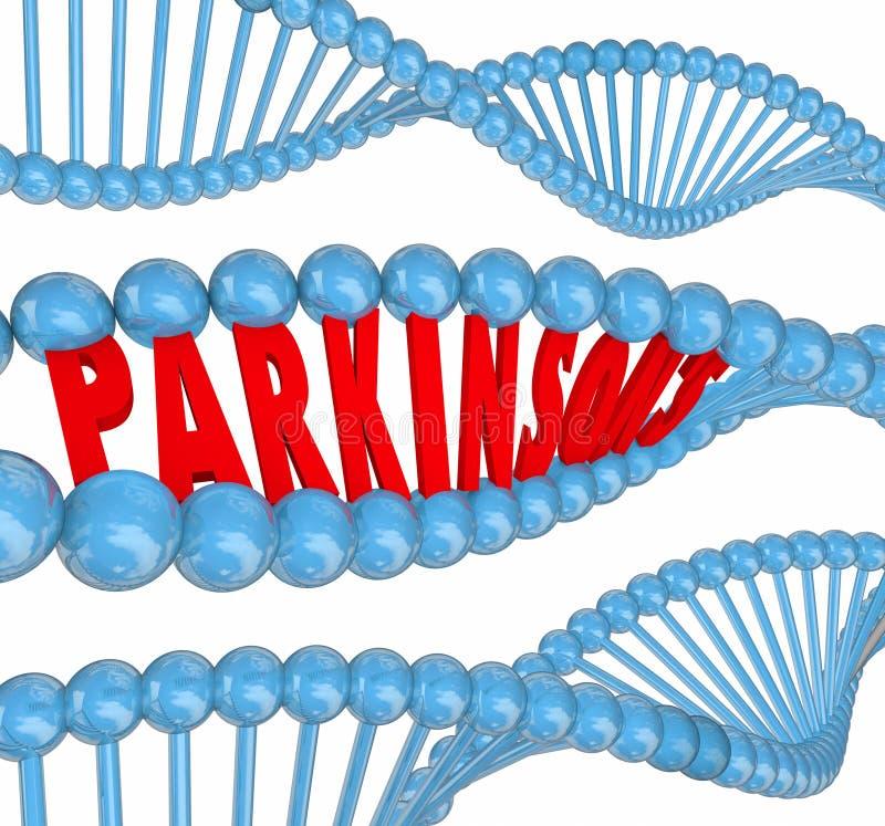 Ord för DNA för Neurological oordning för Parkinsons sjukdomnervsystem stock illustrationer