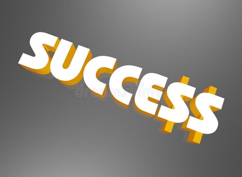 ord för framgång för dollartecken royaltyfri illustrationer
