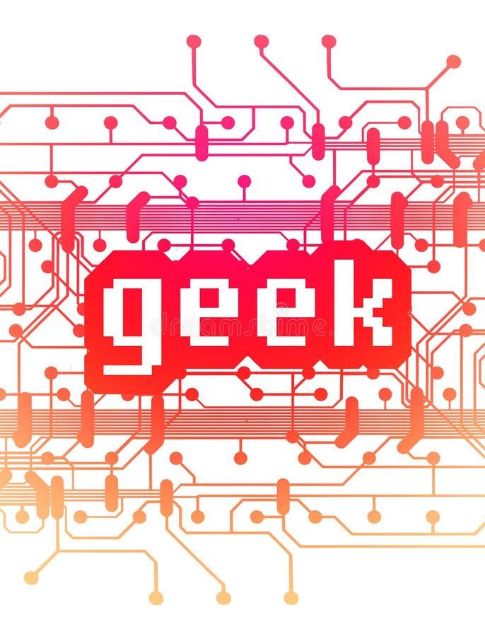 ord för geek för brädeströmkretsdator vektor illustrationer