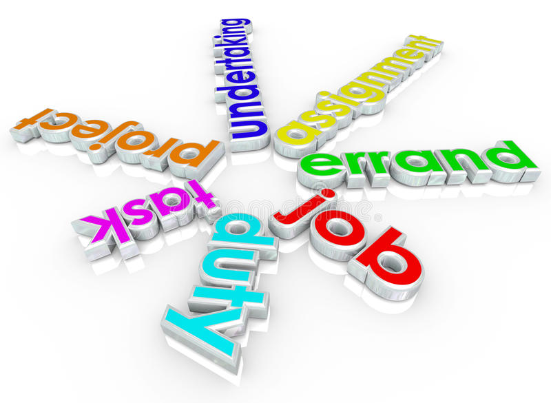 Ord för Job Task Errand Undertaking Assignment arbetsuppgift 3d royaltyfri illustrationer