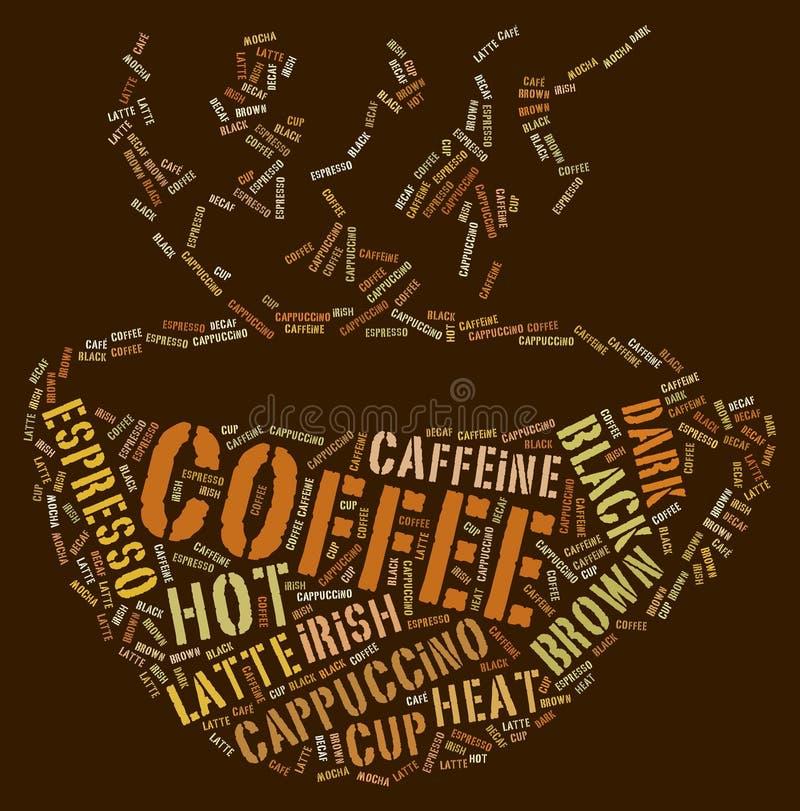 ord för kaffekopp vektor illustrationer