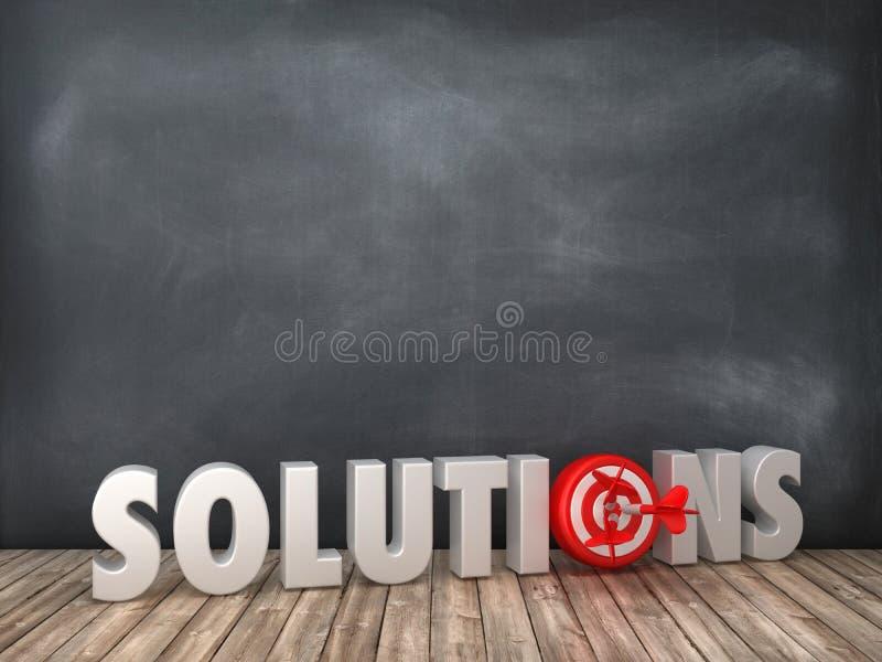 Ord för LÖSNINGAR 3D med målet på svart tavlabakgrund royaltyfri illustrationer