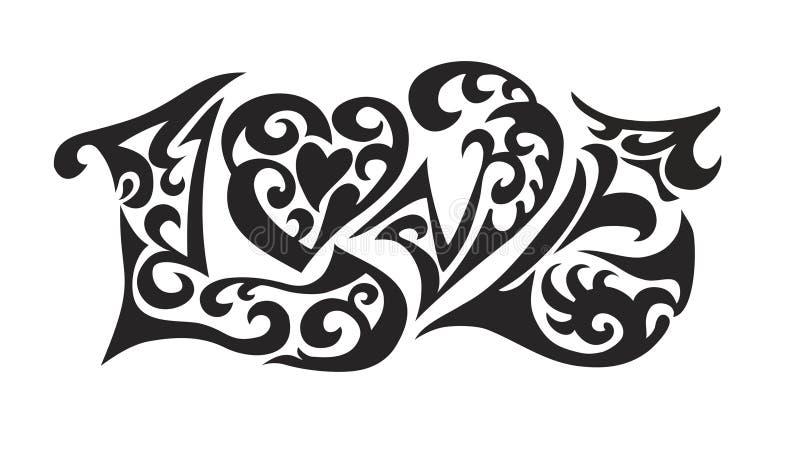 ord för logoförälskelsetatoo royaltyfri illustrationer