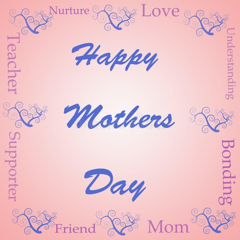 ord för mödrar för oklarhetsdag lyckligt vektor illustrationer