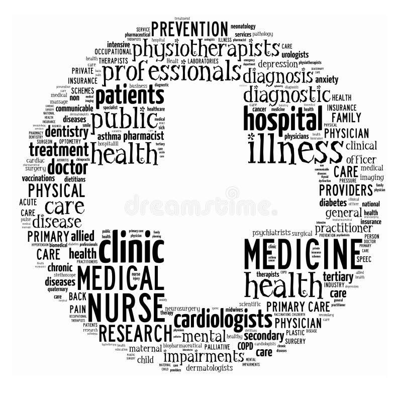 ord för omsorgscollagehälsa stock illustrationer