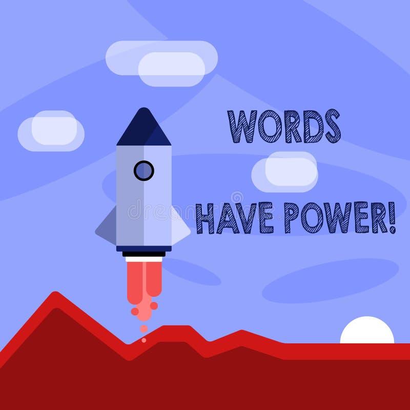Ord för ordhandstiltext har makt Affärsidé för, som de har kapacitet att hjälpa att läka men eller skada någon som är färgrikt royaltyfri illustrationer