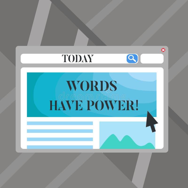 Ord för ordhandstiltext har makt Affärsidé för, som de har kapacitet att hjälpa att läka men eller skada någon som är tomt stock illustrationer