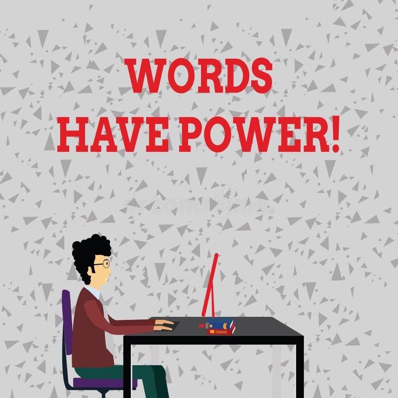 Ord för ordhandstiltext har makt Affärsidé för, som de har kapacitet att hjälpa att läka men eller skada någon royaltyfri illustrationer