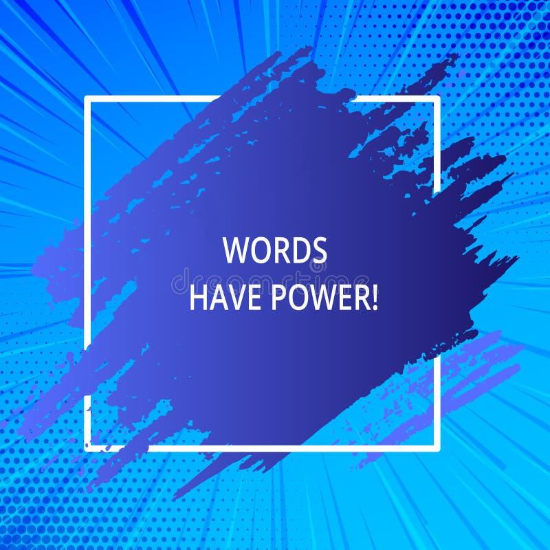 Ord för ordhandstiltext har makt Affärsidé för, som de har kapacitet att hjälpa att läka men eller skada någon den blåa signalen royaltyfri illustrationer