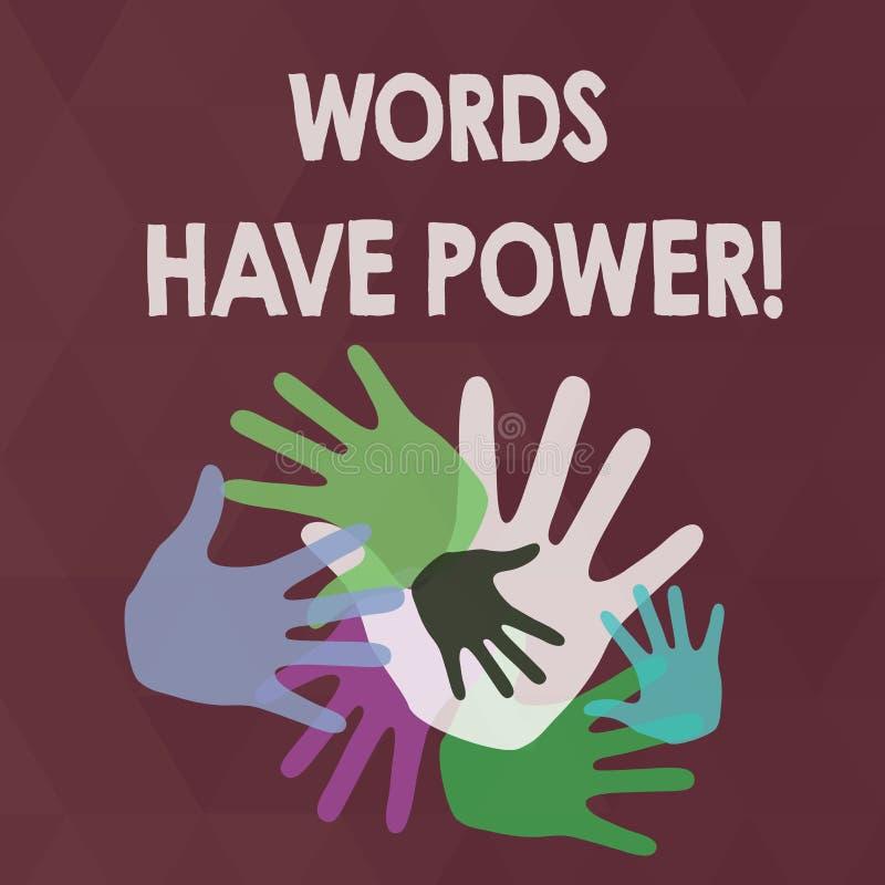 Ord för ordhandstiltext har makt Affärsidé för, som de har kapacitet att hjälpa att läka men eller skada någon färg royaltyfri illustrationer