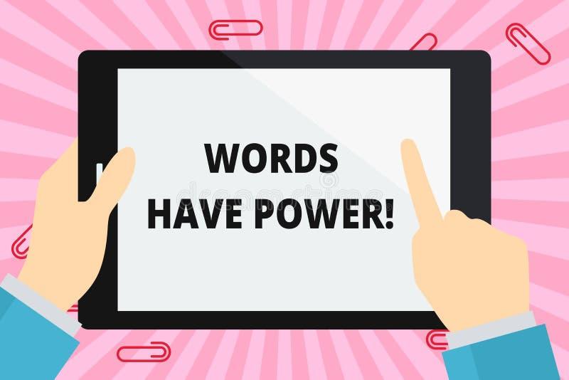Ord för ordhandstiltext har makt Affärsidé för, som de har kapacitet att hjälpa att läka men eller skada någon handen stock illustrationer