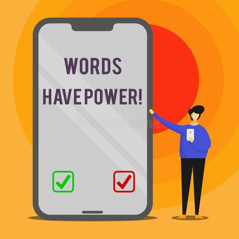 Ord för ordhandstiltext har makt Affärsidé för, som de har kapacitet att hjälpa att läka men eller skada någon mannen stock illustrationer