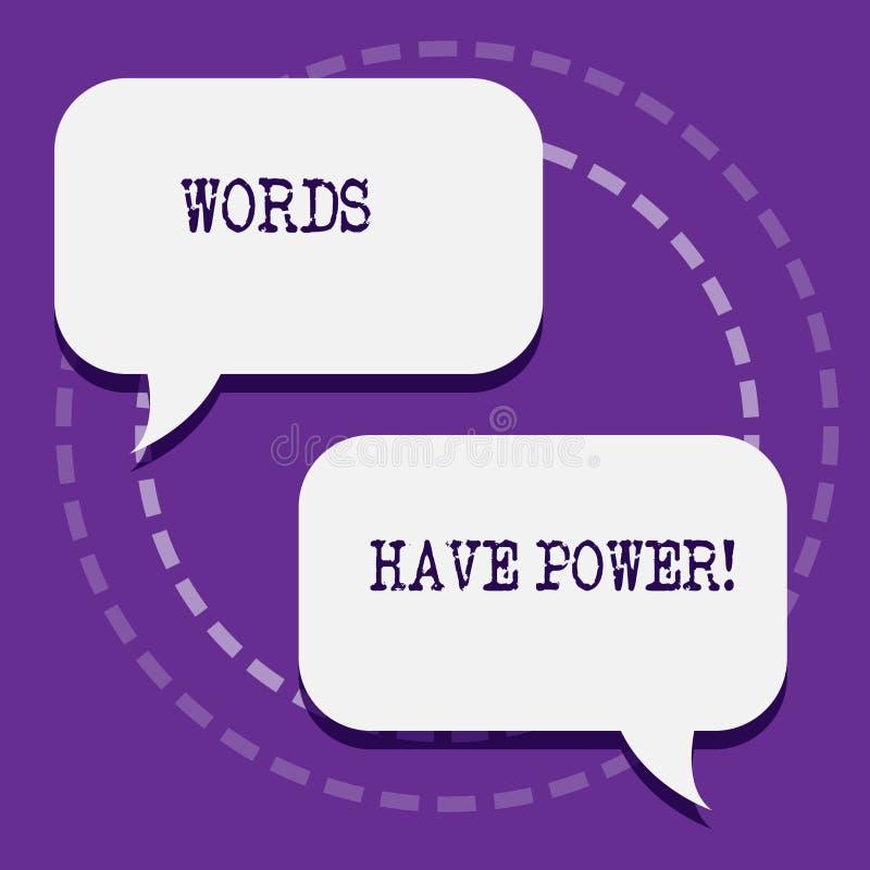 Ord för ordhandstiltext har makt Affärsidé för, som de har kapacitet att hjälpa att läka men eller skada någon mellanrum två royaltyfri illustrationer