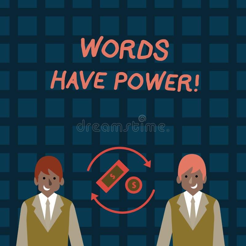 Ord för ordhandstiltext har makt Affärsidé för, som de har kapacitet att hjälpa att läka men eller skada någon pengar in vektor illustrationer