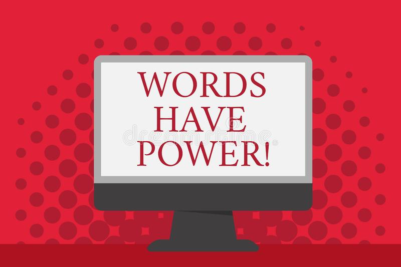 Ord för ordhandstiltext har makt Affärsidéen för meddelanden som du säger, har kapaciteten att ändra din verklighet stock illustrationer