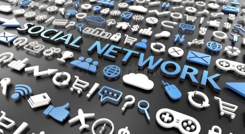 ord 'för socialt nätverk 'med symboler 3d stock illustrationer