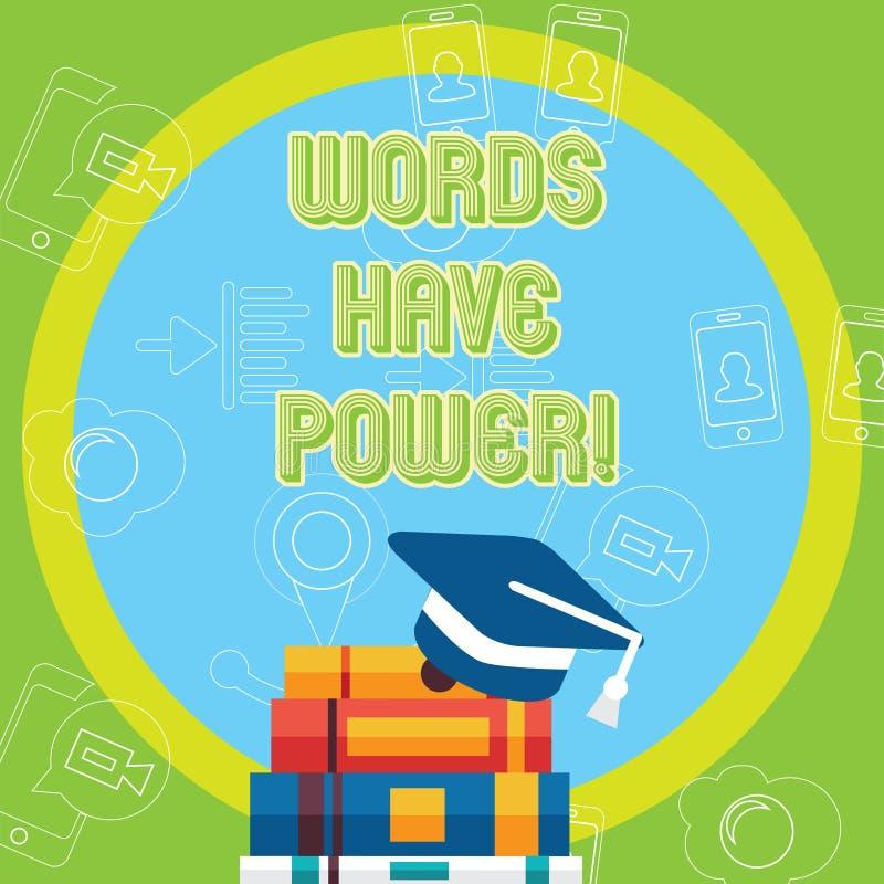 Ord för textteckenvisning har makt Begreppsmässiga fotomeddelanden som du säger, har kapaciteten att ändra din verklighet vektor illustrationer