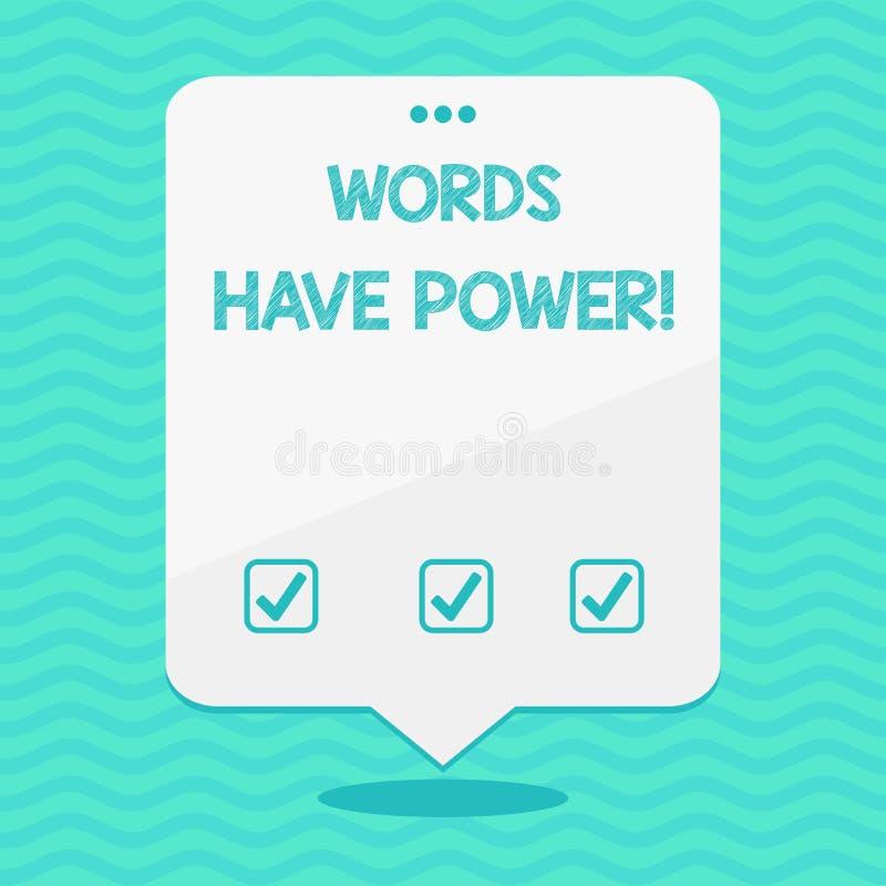 Ord för textteckenvisning har makt Begreppsmässigt foto, som de har kapacitet att hjälpa att läka men eller skada någon tomt utry royaltyfri illustrationer