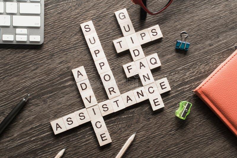 Ord för vägledning för återkopplingshjälpservice som stavas med kuber på trätabellen royaltyfri bild