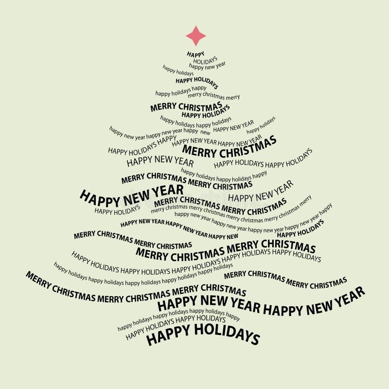 ord för julformtree royaltyfri illustrationer