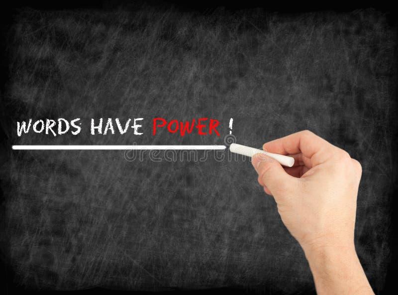 Ord har makt - räcka handstiltext på den svart tavlan arkivfoto