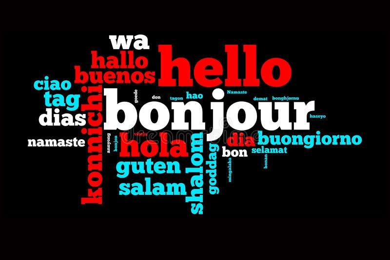 Ord Hello som översätts i många språk fotografering för bildbyråer