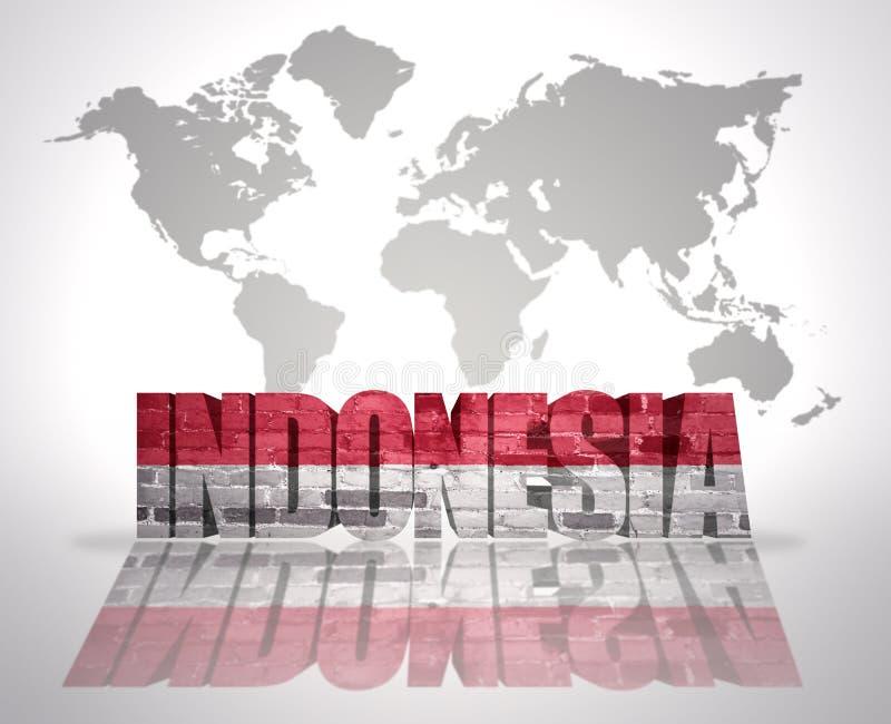 Ord Indonesien på en världskartabakgrund stock illustrationer