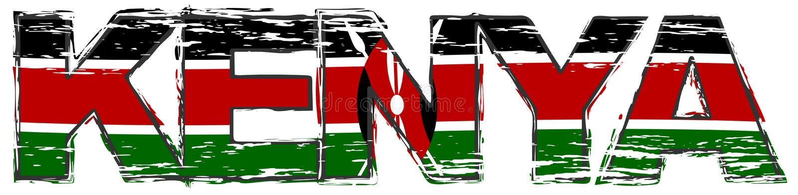 Ord KENYA med den kenyanska nationsflaggan under den, bekymrad grungeblick stock illustrationer