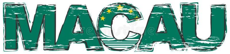 Ord MACAO med nationsflaggan under den, bekymrad grungeblick vektor illustrationer